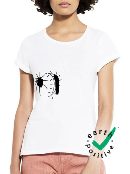 Perlou - Mond Verrückt - Shirt White Tailliert - Ecoline
